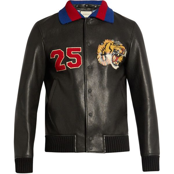 Gucci Tiger-appliqué leather bomber jacket ($3,750) ❤ liked on Polyvore featuring men's fashion, men's clothing, men's outerwear, men's jackets and gucci mens jacket