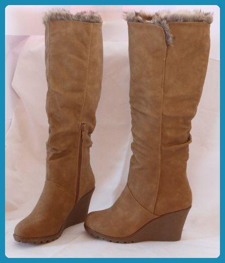 Damen Stiefel Fellstiefel Winter Schuhe Boots Damenstiefel Camel BRAUN beige - Stiefel für frauen (*Partner-Link)