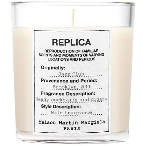 Maison Margiela Replica Jazz Club Candle 165g found on Polyvore featuring home, home decor, candles & candleholders, vanilla scented candles, vanilla candle, scented candles, maison margiela and oriental home decor