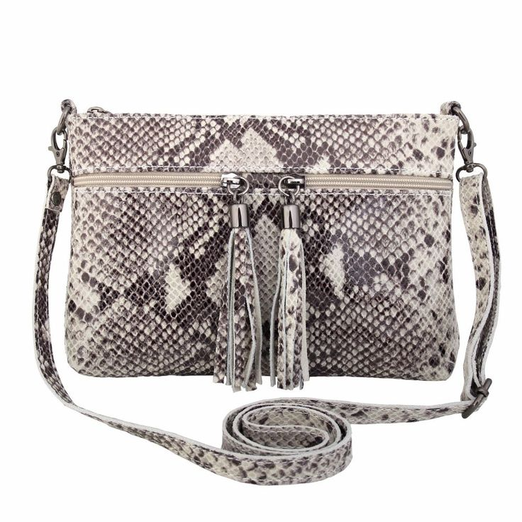 ERIN BROWN PYTHON PRINTED ITALIAN LEATHER CLUTCH /SHOULDERBAG