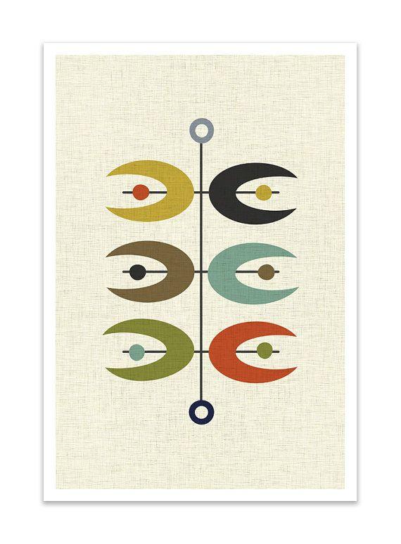 OPPOSITES – Giclee Print – Mid Century Modern Danish Modern Minimalist Cubist Modernist Abstract Eames