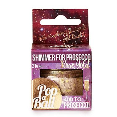 Rose Gold Raspberry Prosecco and Champagne Shimmer - from Lakeland Gives sparkling drinks an iridescent glitter finish, adds raspberry flavour and pink shimmer, with little heart-shaped flakes of gold