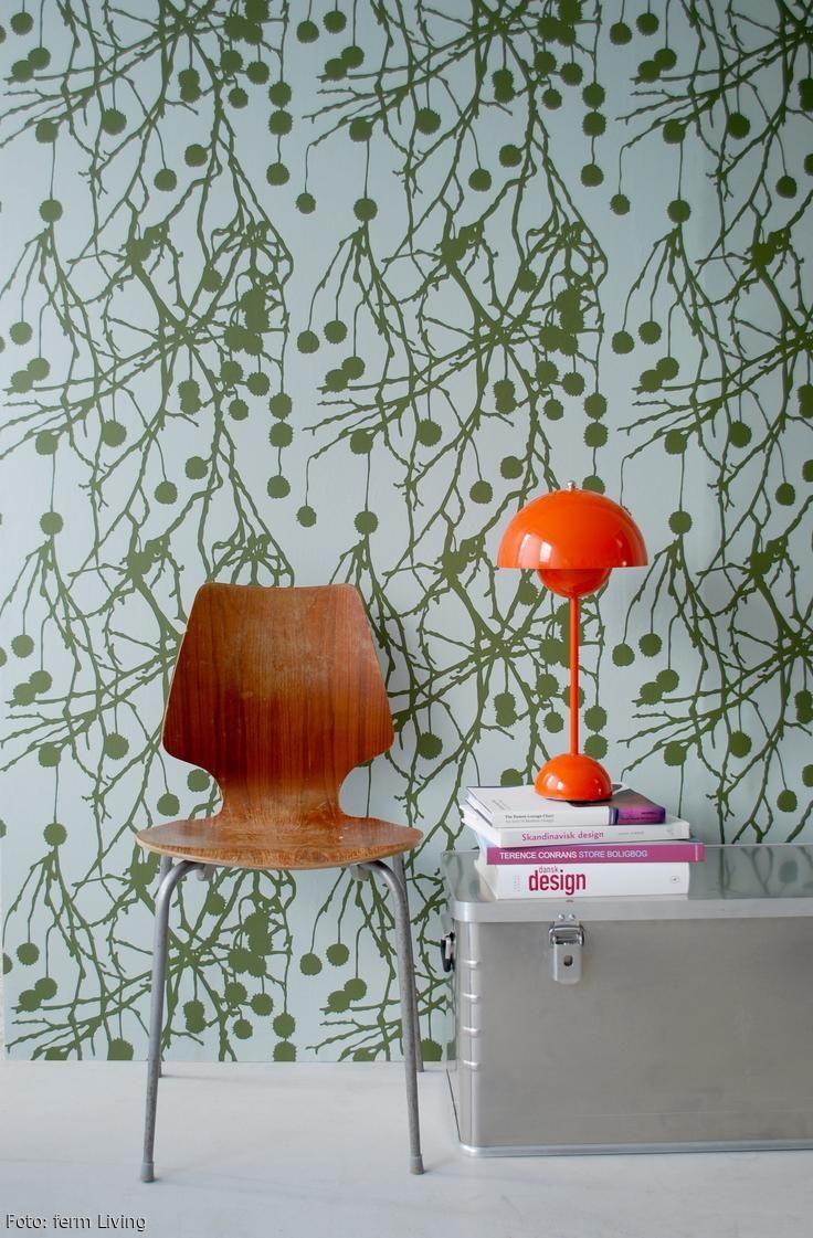 Skandinavische Wandgestaltung In Grn Und Weiss DesignklassikerWohnzimmer Blumentpfe