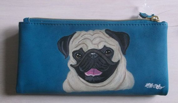 French Bulldog Dog Hand Painted Leather Coin Purse Mini wallet vegan
