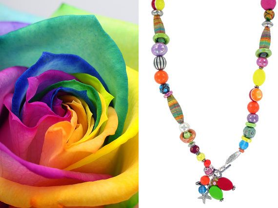 Necklace poppy by LDCbijoux on Etsy