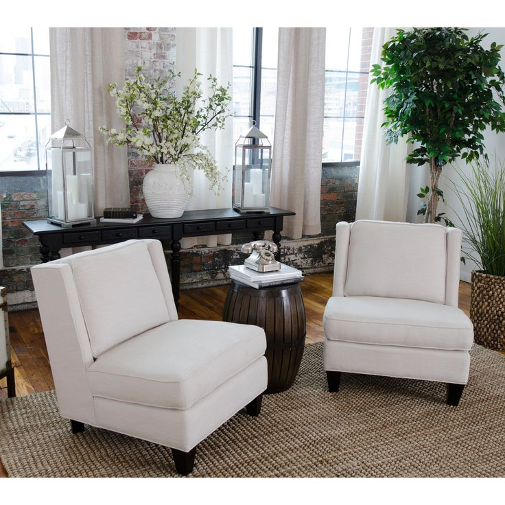 Elements Fine Home Malibu Fabric Armless Chair Set   Accent Chairs At  Hayneedle. Armless Chair, Living Room ... Ideas