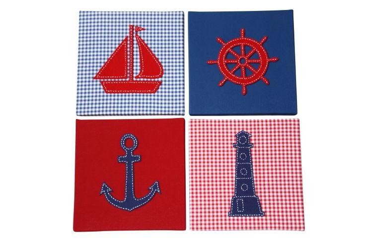 Maritieme schilderijen (anker + zeilboot + stuurwiel + vuurtoren) blauw rood