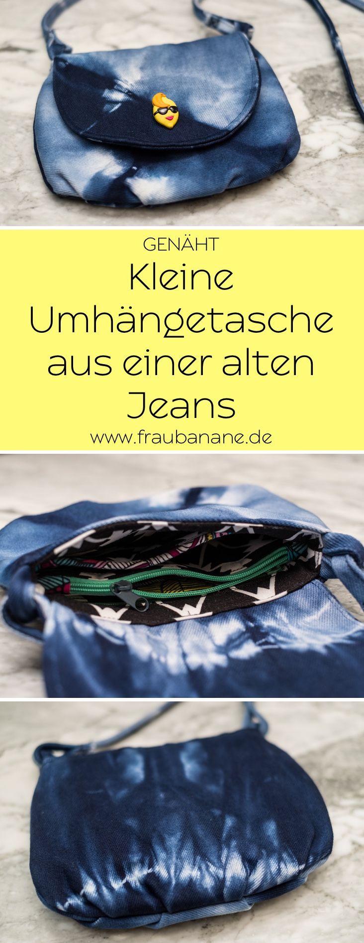 Diese kleine Umhängetasche habe ich aus einer alten weißen Jeans genäht. Die Jeans habe ich vorher gebatikt. Das Innenfutter der Ausgehtasche verfügt über viele Innenfächer. #handtasche #umhängetasche #partytasche #upcycling #nähen #batik #shibori #diy #refashion