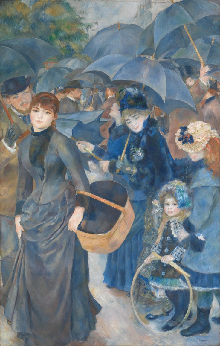 The Umbrellas (Pierre - Auguste Renoir) 1. The little girl holds a hoop - write about toys in your life 2.(Check out the u-tube looking at fashion and the painting) Fashion and Me - my favourite clothes 3. Everyone puts up their umbrellas - Write about fun in the rain and getting caught in the rain.