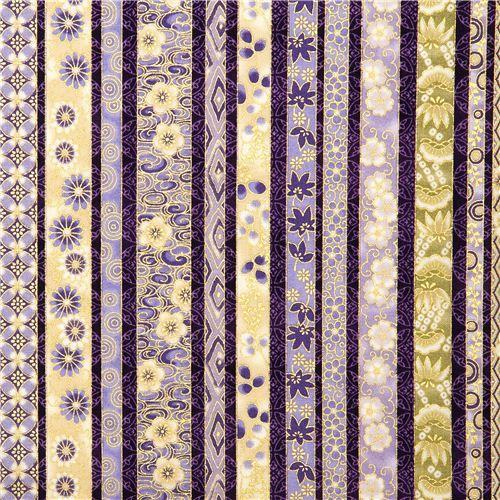purple Robert Kaufman fabric with flowers & gold USA