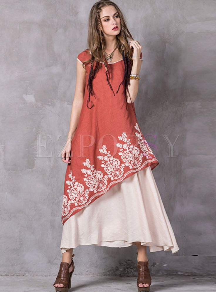 Shop for high quality Vintage Irregular Patch Embroidery Maxi Dress online at cheap prices and discover fashion at Ezpopsy.com