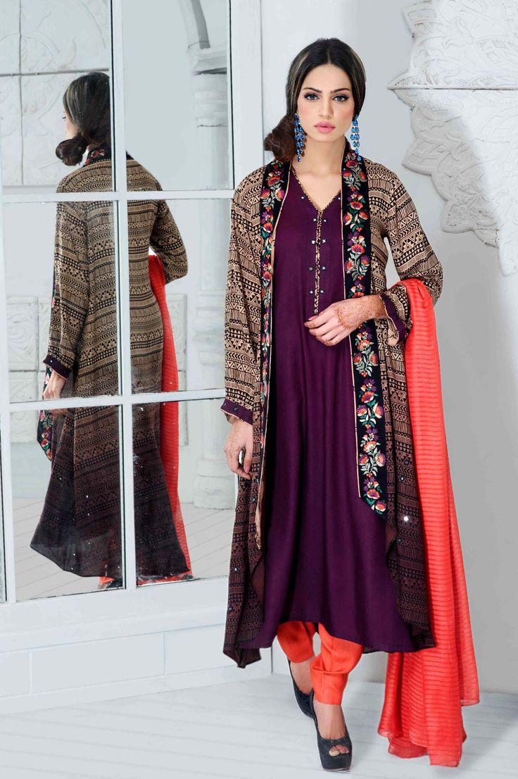 Peach with purple combination looks so beautiful in this jacket style long kameez with pyjama
