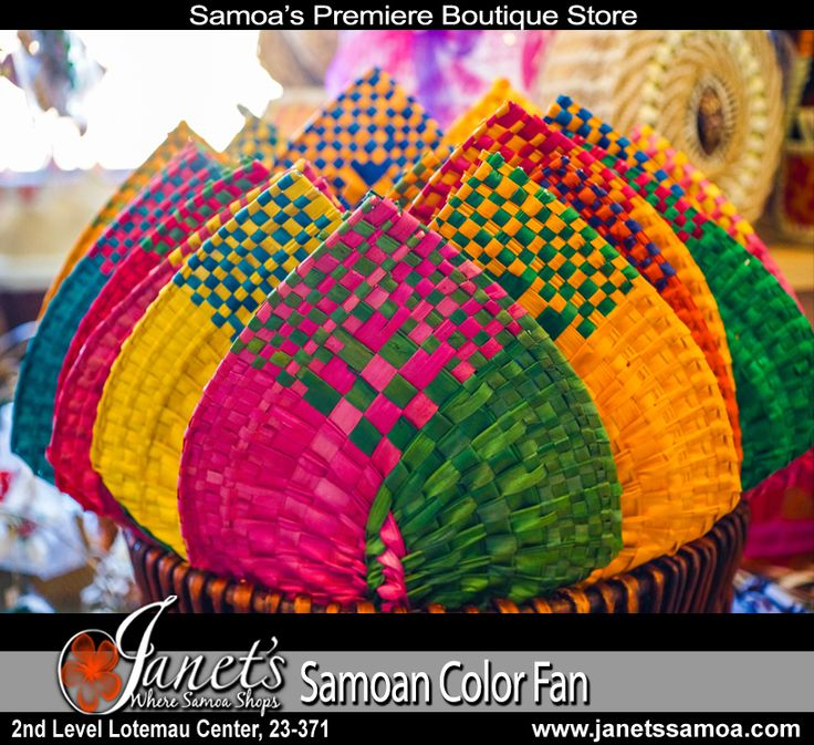 Samoan Color Pandanus Fan - Over ten years ago Janet's created the colored pandanus fan (samoan ili) in order to express the true range of Pacific colors our Samoan Artists could create. Since then the colored fan has become a popular item throughout Samoa with a range of colors and sizes.  See Online Now at http://www.janetssamoa.com/set-of-6-samoan-fan-cw57-6-color/   Available at Janet's, Janet's Airport Shor and at www.janetssamoa.com