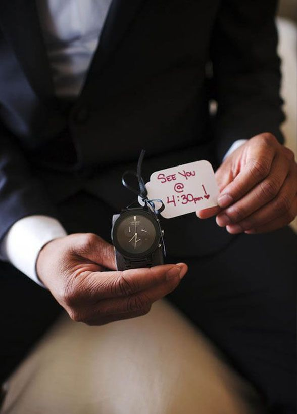It's time to give your groom some arm candy. A wristwatch makes for the perfect wedding day gift, just attach a note that lets him know when to meet you at the altar! 8 Incredibly Thoughtful Gift Ideas That Will Have You Winning Spouse Of The Year