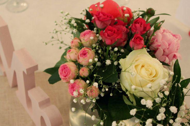 Centre de tables fleurs Mr & Mrs