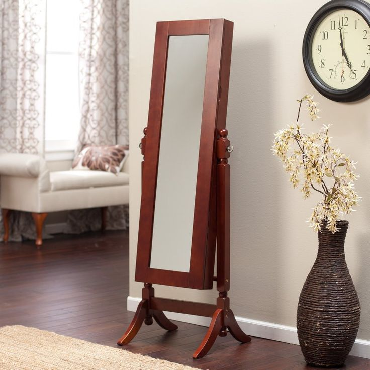Heritage Jewelry Armoire Cheval Mirror - Cherry - GS5036 - CHERRY - SQUARE BASE