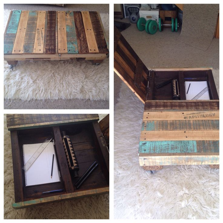 DIY rustic recycled pallet coffee table with desk compartment on castor wheels. Upcycled pallet furniture.