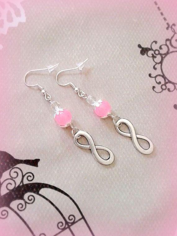 Boucles d'oreilles infini perle en verre rose et transparente argenté made in France fait main : Boucles d'oreille par c-comme-celine