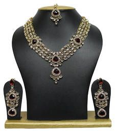 Buy Crystal Maroon gold plated necklace sets necklace-set online