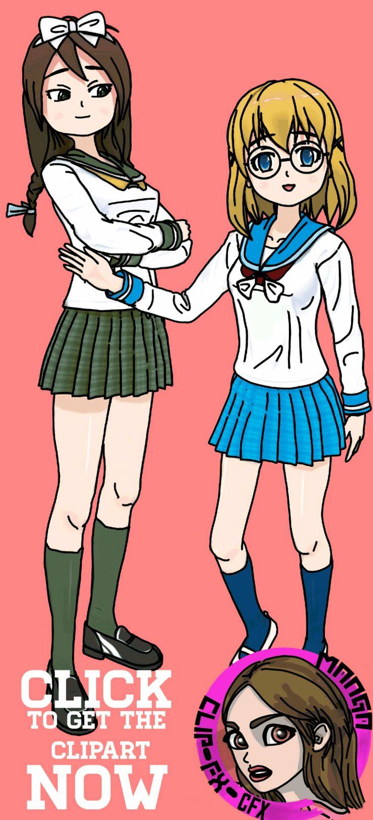 Manga kids / Children (Cartoon School Girl in Uniform)   This set includes:  6x Manga Girls (color)  6x Manga Girls (B&W)