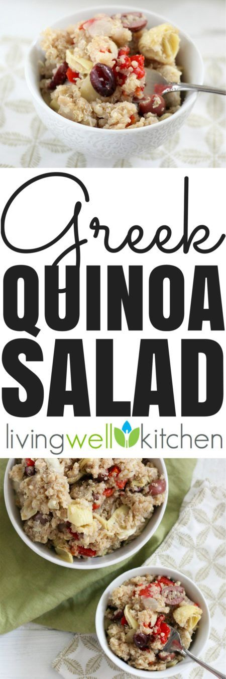 A few simple pantry staples make up this flavorful, vegan, gluten free Greek Quinoa Salad recipe from @memeinge that is great to keep in the fridge when hunger strikes and you want a healthy meal