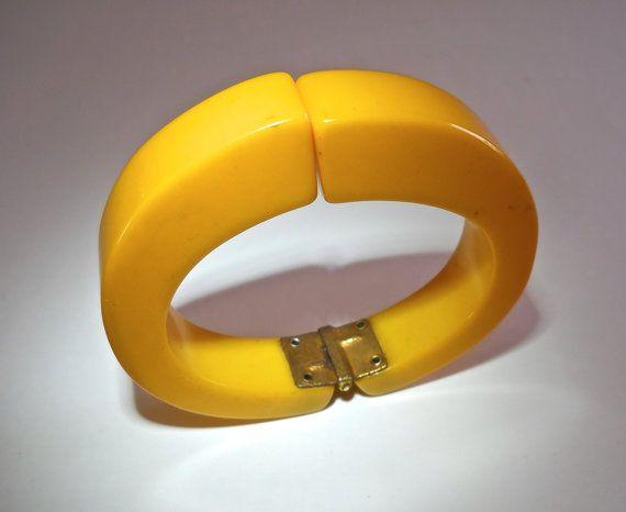 Hinged Yellow Bakelite Bracelet Cuff Spring by RenaissanceFair