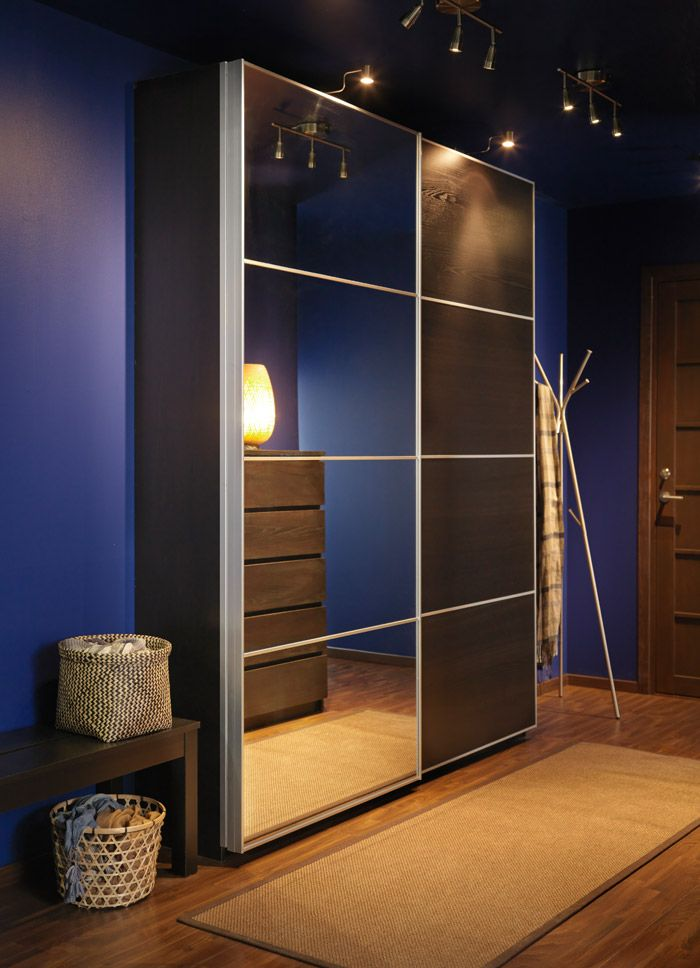 Pax black brown wardrobe with auli ilseng mirror glass for Ikea pax portes coulissantes