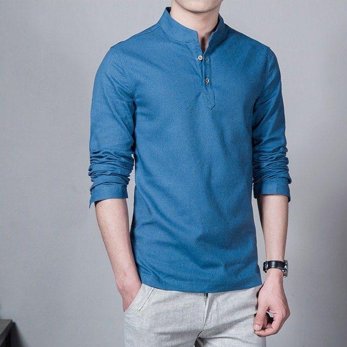 Casual Fashion Long Sleeve Mandarin Collar Linen Men S Blue Shirt Linen Shirt Men Long Sleeve Shirt Men Blue Shirt Men