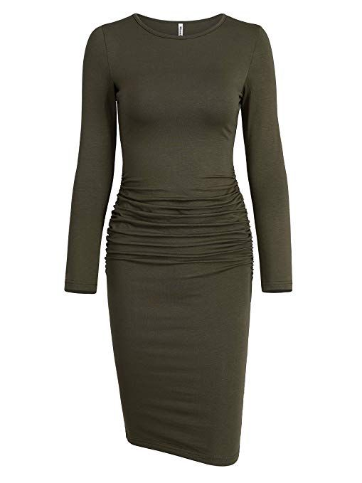 b03a0d27cc7 Missufe Women s Ruched Casual Sundress Midi Bodycon Sheath Dress ...