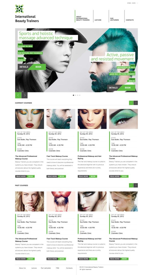 International Beauty Trainers- check out the pops of color all of this site. A plain design that was elevated by their choice of images.