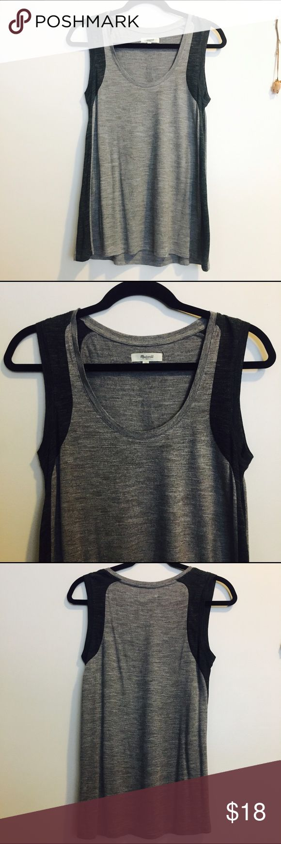 Soft Madewell tank Block grey comfort tank from Madewell! Worn maybe 2-3 times max, this beauty is soft, comfortable, and made of amazing material. It's a cool grey color that will look great paired with jeans and a cardigan or shorts and some flip flops for a more casual look! Madewell Tops Tank Tops