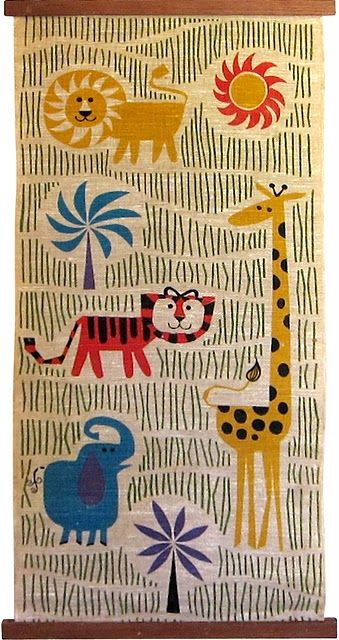 Mid-Century fabric wall hanging.