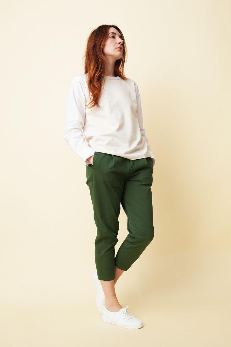 Barena Viola olive cotton trousers