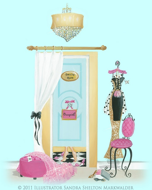Dressing Room by Illustrator SANDY M of Ooh La Frou Frou  #Art #Illustration #Fashion