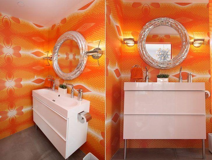 Joyful Courage Uplift Your Powder Area With A Spot Of Orange Orange Small Bathroomscolorful