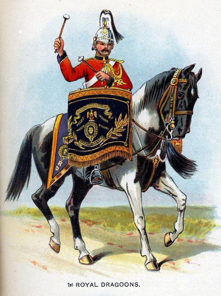 British; 1st Royal Dragoons, Kettledrummer c.1912 from Bands of the British Army by W.J. Gordon and illustrated by F. Stansell