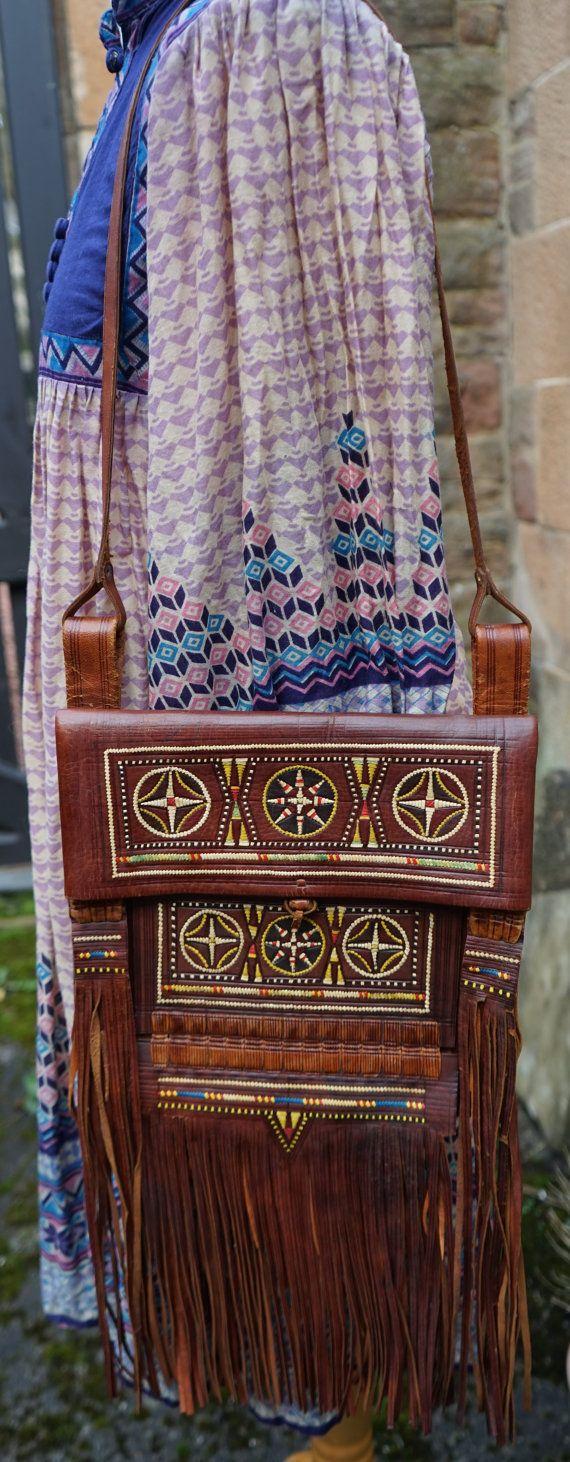 Vintage 60s 70s Moroccan Leather Festival Bag embroidered leather fringe/tassels Woodstock Hippie Boho shoulder bag