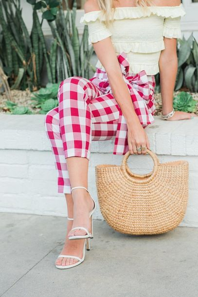 Plaid pants paired with off the shoulder top for summer look