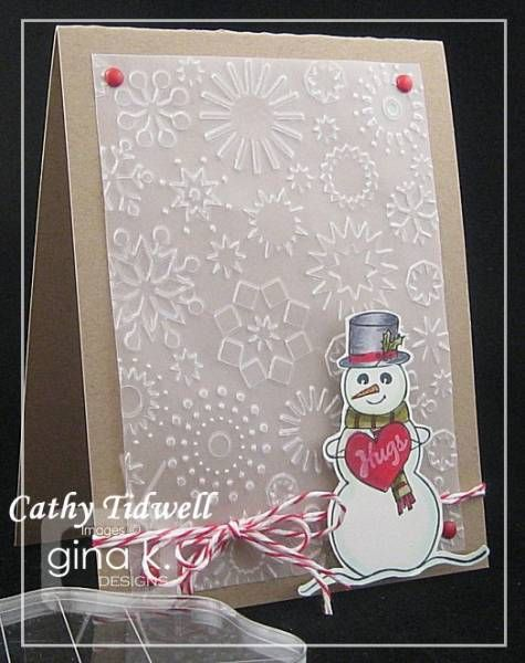use of vellum with embossing folder as a background