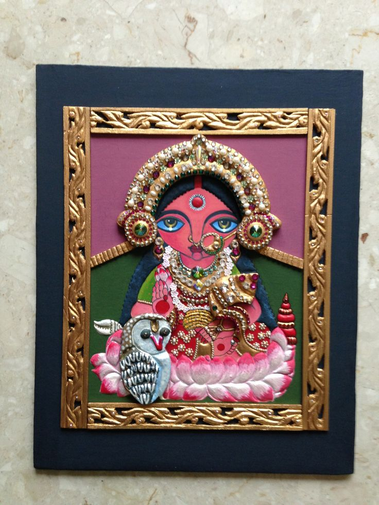 An humble attempt to try to paint a Deezden painting in tanjore style