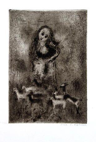 Bohuslav Reynek Dulcinea suchá jehla / dry point 15,5 x 10,5 cm, 60. léta otisk z původní desky