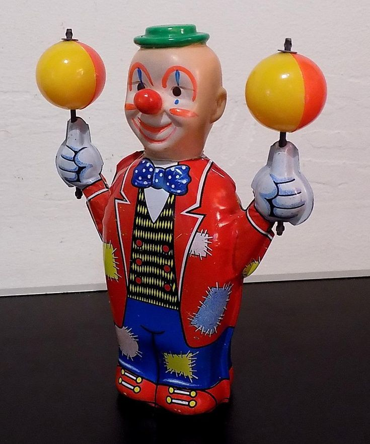 Vintage Tin Wind-up Clown with Revolving Coloured Balls On Hands, Yoneya (YONE) | eBay