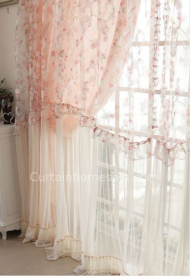 Beautiful Fl Pattern Elegant Lace Sheer Panels Shabby Chic Curtain