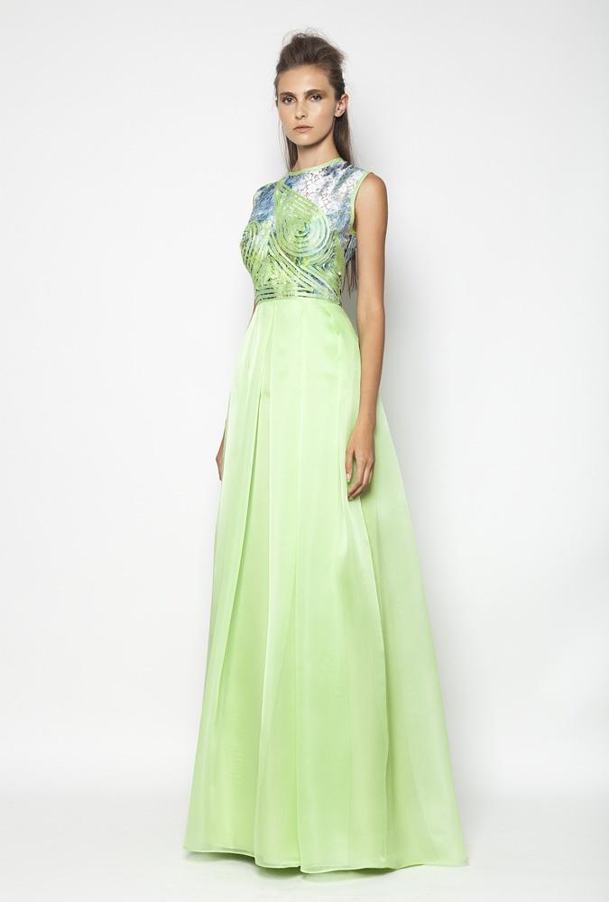 CHRISTOS COSTARELLOS SS12 Silk Organza, Cotton Lace Maxi Dress