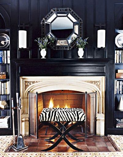 We love creative interior design like this awesome black and white living room with a pop of zebra print (and a blazing fire to boot!) || paloma81.blogspot.comDecor, Black Walls, Black Room, Interiors, Fireplaces, Zebras Prints, Animal Prints, House, Dark Wall