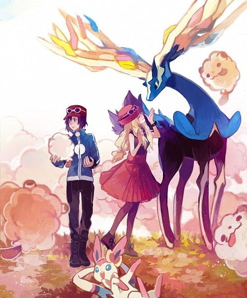 Calem and Serena with Swirlix, Sylveon, and Xerneas