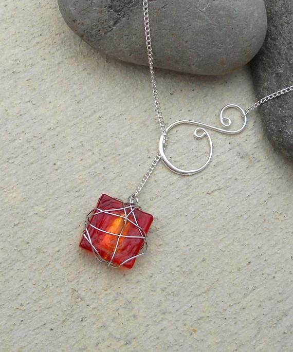 Silver Wire Wrapped Stone and Swirl Lariat Necklace.Craft ideas 3433 - LC.Pandahall.com