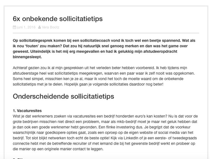 Blog op Sollicitego over onderscheidende sollicitatietips. Zie de volledige post op https://www.sollicitego.nl/6x-onbekende-sollicitatietips/