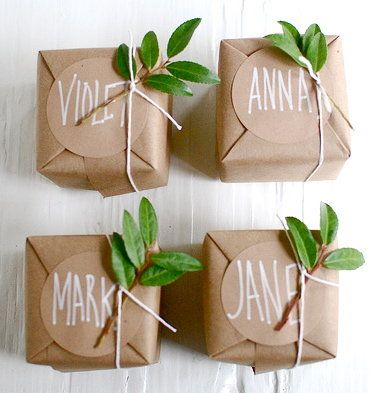 Wedding favour packaging with kraft paper, twine and leaves