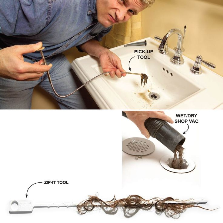 Fix a Clog in Seconds - Before you run a drain snake into a clogged pipe or disassemble the trap, there are a few other tricks worth trying: Often, you can yank out a clog with a flexible-shaft pick-up tool (shown above) or a Zip-It (below). Likewise, a wet/dry vacuum just might suck out the clog.